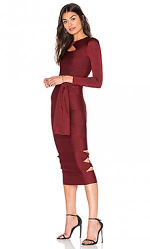 Облегающее платье с длинным рукавом sophia LOLITTA. Цвет: вишня