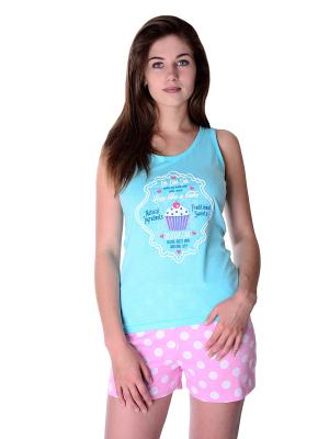 Пижама Малина. Цвет: голубой, розовый