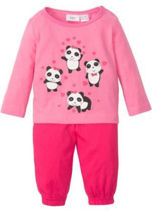 Для малышей: футболка с длинным рукавом + трикотажные брюки (2 изд.), биохлопок (ярко-розовый гибискус/ярко-розовый) bonprix. Цвет: ярко-розовый гибискус/ярко-розовый