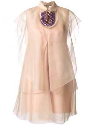 Декорированное платье Delpozo. Цвет: розовый и фиолетовый