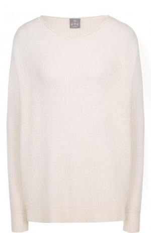 Кашемировый пуловер фактурной вязки FTC. Цвет: белый