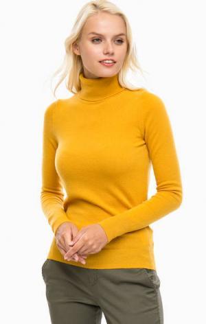 Желтая водолазка из шерсти United Colors of Benetton. Цвет: желтый