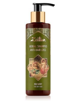 Фито-шампунь против выпадения волос. С молочной сывороткой, без SLS Зейтун. Цвет: кремовый