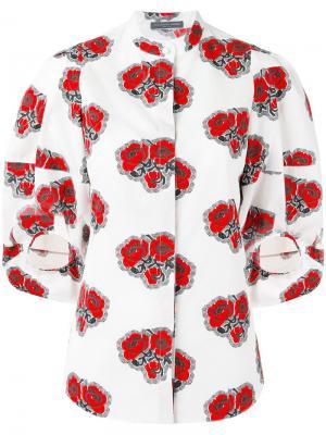 Рубашка с рисунком из маков Alexander McQueen. Цвет: белый