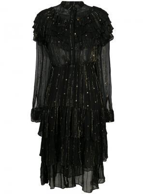 Платье с оборками и металлическими деталями Dodo Bar Or. Цвет: чёрный