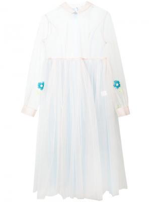 Floral Embroidered Bi-Colour Tulle Empire Gown Natasha Zinko. Цвет: зелёный