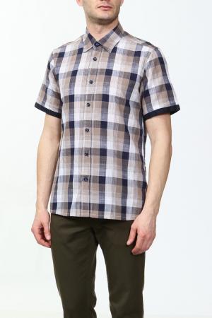 Рубашка Karflorens. Цвет: коричневый, черный, синий