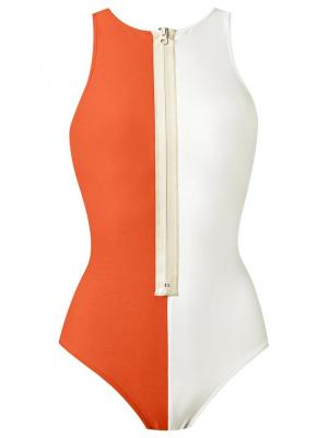 Купальный костюм с панельным дизайном Adriana Degreas. Цвет: жёлтый и оранжевый