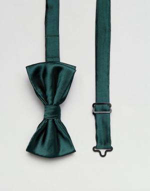Devils Advocate Темно-зеленый однотонный атласный галстук-бабочка. Цвет: зеленый