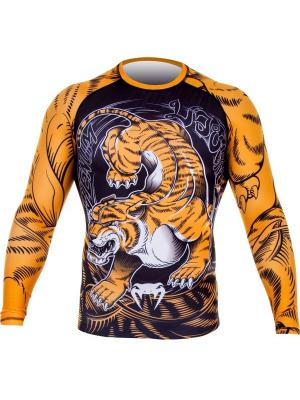 Рашгард Venum Tiger Rash Guard - Long Sleeves Black/Orange. Цвет: черный, оранжевый