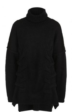 Свитер фактурной вязки с высоким воротником Yohji Yamamoto. Цвет: черный