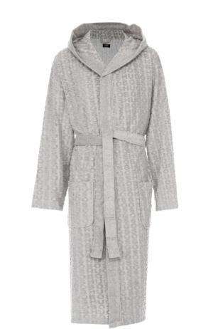 Хлопковый халат с поясом и капюшоном BOSS. Цвет: серый