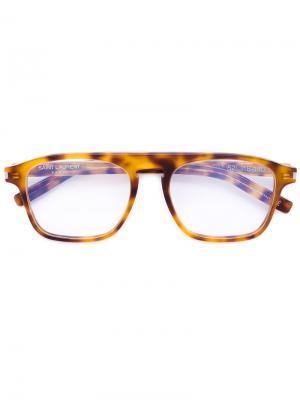 Очки в квадратной оправе Saint Laurent Eyewear. Цвет: жёлтый и оранжевый
