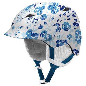 Шлем для сноуборда детский  Snow Zipmold Camina Satin White Floral/White Liner Bern. Цвет: белый,голубой,синий