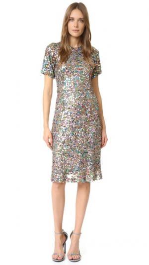 Платье с блестками Rodarte. Цвет: мульти