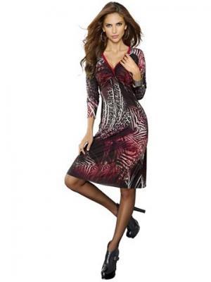 Платье из джерси с принтом ALBA MODA WHITE. Цвет: бордовый