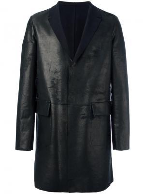 Кожаное пальто Salvatore Santoro. Цвет: чёрный