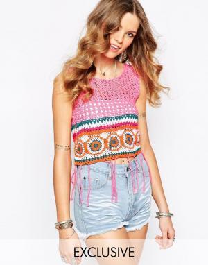 Spiritual Hippie Кружевной укороченный топ с разноцветной вставкой. Цвет: розовый