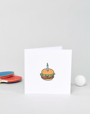 The Naughty Little Card Shop Открытка на день рождения Burger. Цвет: мульти