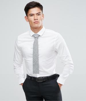 ASOS Белая приталенная рубашка с серым галстуком. Цвет: белый