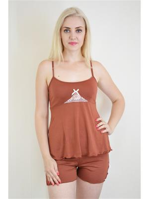 Пижама Miata. Цвет: коричневый, белый
