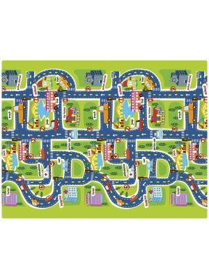 Детский развивающий коврик Город-КНИЖКА 200х150х1 Mambobaby. Цвет: голубой