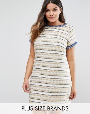 Elvi Фактурное цельнокройное платье. Цвет: желтый