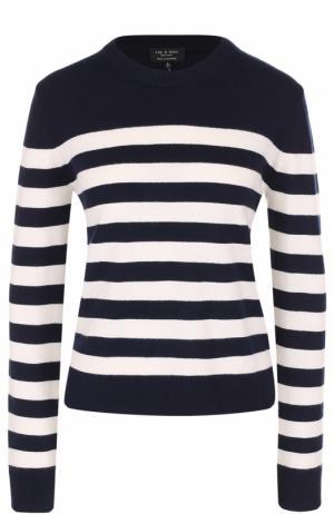 Кашемировый пуловер прямого кроя в контрастную полоску Rag&Bone. Цвет: темно-синий
