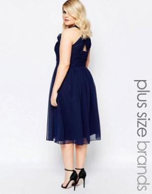 Forever Unique Plus Платье миди с глубоким вырезом и перекрестом сзади. Цвет: темно-синий