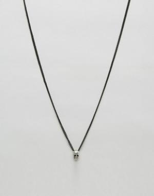Icon Brand Черное ожерелье с подвеской в виде черепа. Цвет: черный