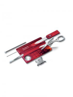 Швейцарская карточка  SwissCard Lite, 13 функций, полупрозрачная красная. Victorinox. Цвет: красный