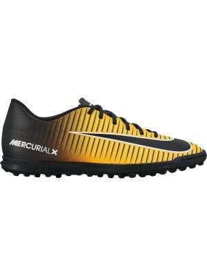 Бутсы MERCURIALX VORTEX III TF Nike. Цвет: оранжевый, черный
