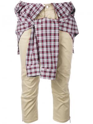 Брюки с завязанной рубашкой Dsquared2. Цвет: телесный