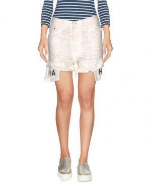 Джинсовые шорты HBA HOOD BY AIR. Цвет: слоновая кость