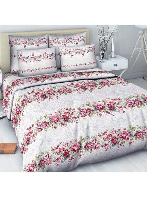 Комплект постельного белья из бязи 1,5 спальный Василиса. Цвет: белый, розовый