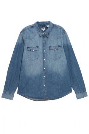 Голубая джинсовая рубашка Levi's®. Цвет: голубой
