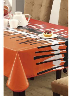 Скатерть Modern Comfort ПВХ с основой из флиса, 152*152 см WHITE FOX. Цвет: оранжевый, белый, черный