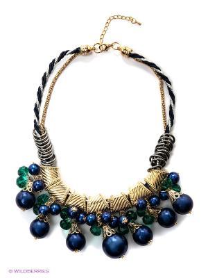 Колье Vittorio Richi. Цвет: темно-синий, зеленый, золотистый