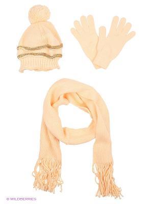 Шапка;  шарф; перчатки Krife. Цвет: персиковый, бежевый