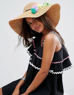 ASOS Соломенная широкополая шляпа с помпонами и кисточками. Цвет: коричневый