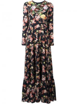 Платье с цветочной вышивкой Antonio Marras. Цвет: чёрный