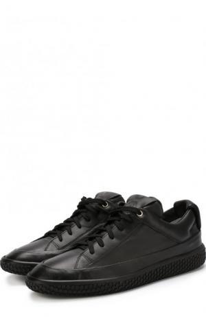 Кожаные кеды на шнуровке O.X.S.. Цвет: черный