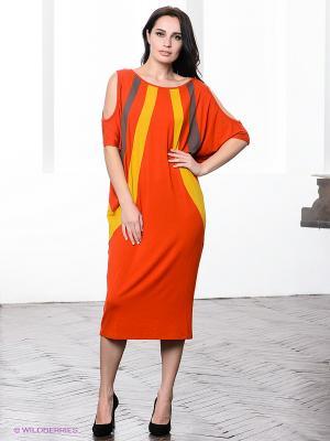 Платье МадаМ Т. Цвет: оранжевый, горчичный, темно-серый