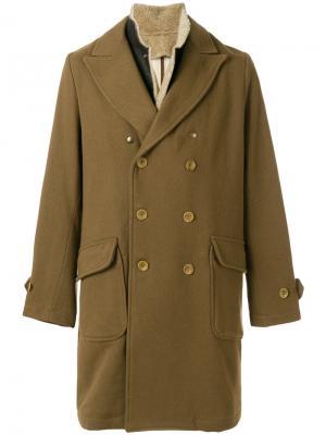 Двубортное пальто с воротником из овечьей шерсти East Harbour Surplus. Цвет: коричневый