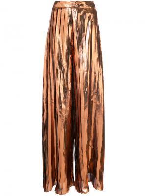 Плиссированные брюки-палаццо с завышенной талией Christian Siriano. Цвет: металлический