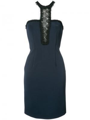 Приталенное платье с кружевной вставкой Yigal Azrouel. Цвет: синий