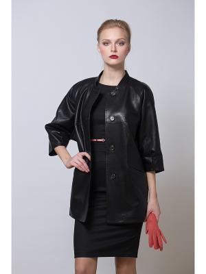 Кожаная куртка Adamo.. Цвет: черный