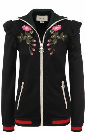 Кардиган на молнии с контрастной цветочной вышивкой Gucci. Цвет: черный