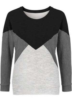 Свитшот (черный/серый/светло-серый) bonprix. Цвет: черный/серый/светло-серый