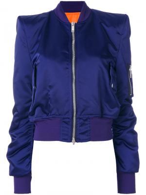 Куртка-бомбер с заостренными плечами Unravel Project. Цвет: розовый и фиолетовый